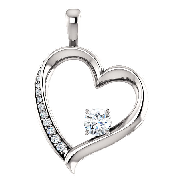 Round Claw Set Diamond Heart Style Pendant - I Heart Moissanites