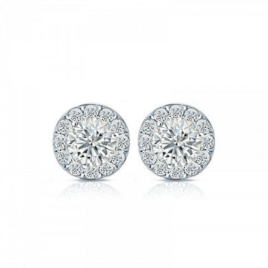 Halo Style Stud Earrings - I Heart Moissanites