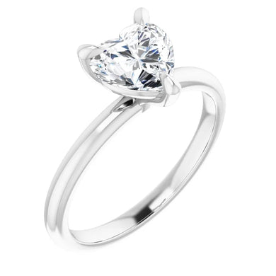 Heart Thin Band Solitaire Engagement Ring