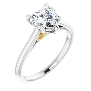 Five Claw Heart Solitaire Engagement Ring