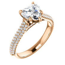 Heart Pave Style Engagement Ring - I Heart Moissanites