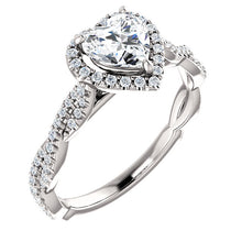 Heart Twist Halo Style Engagement Ring - I Heart Moissanites