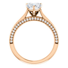 Heart Solitaire & Hidden Diamond Band Engagement Ring - I Heart Moissanites