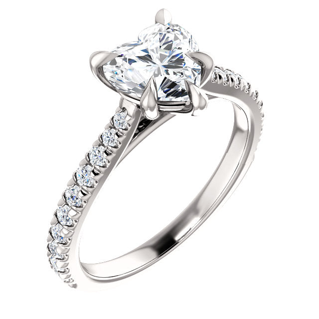 Heart Claw Set Style Engagement Ring - I Heart Moissanites