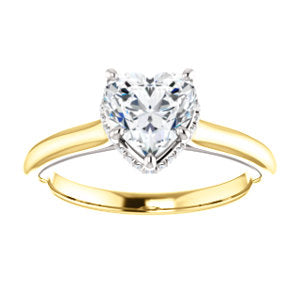 Heart Solitaire & Hidden Halo Engagement Ring - I Heart Moissanites
