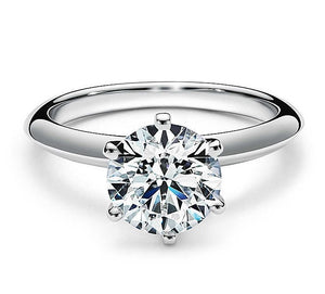 2ct Six Claw Round Brilliant Tiffany Style Engagement Ring