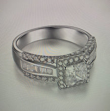 Custom Design 18K White Gold Moissanite Engagement Ring - I Heart Moissanites