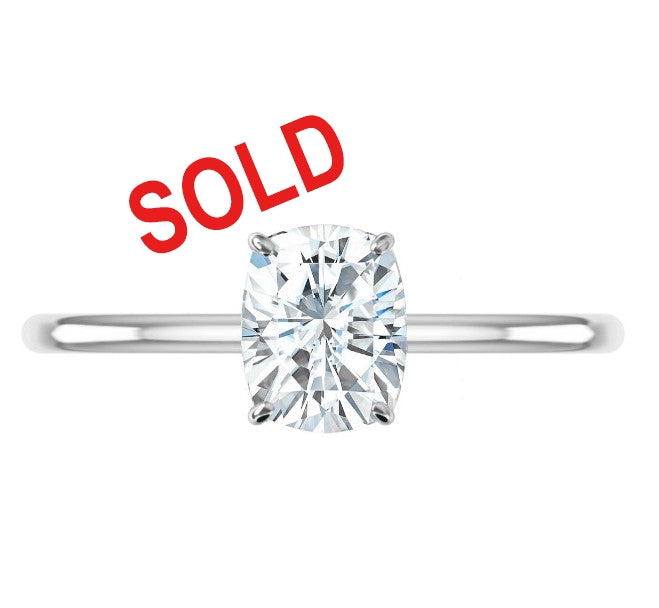 2.25ct Elongated Cushion Crushed Ice Thin Band Engagement Ring