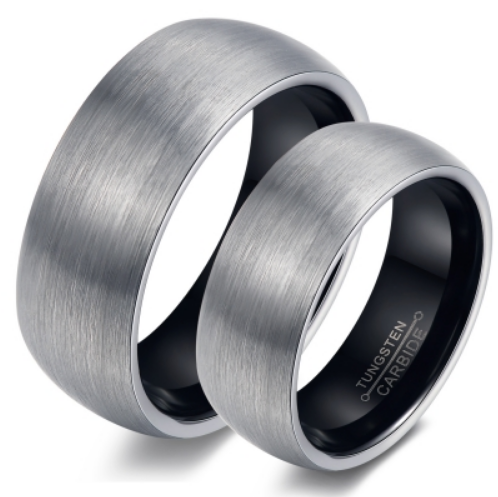 Tungsten Black & Silver Brushed 8mm & 6mm Men's Ring