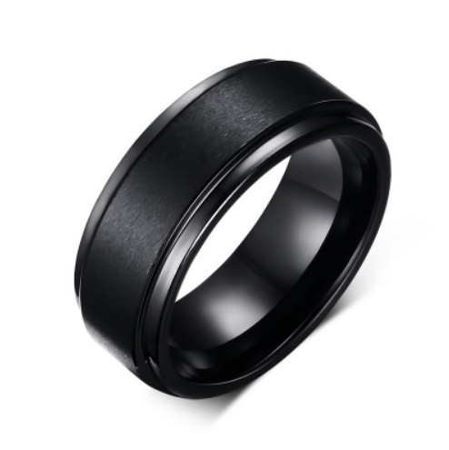 Tungsten Steel Men's Black Matte and Brushed Ring - I Heart Moissanites