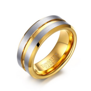 Tungsten Steel Gold With Silver Brushed Finish - I Heart Moissanites
