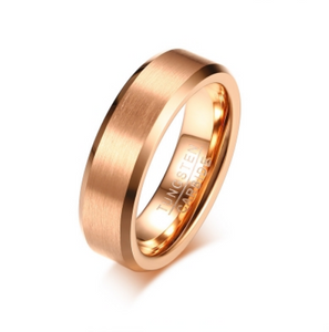 Tungsten Steel Brushed Rose Gold Ring - I Heart Moissanites