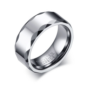 Tungsten Silver Patterned 8mm Men's Ring