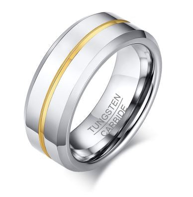 Tungsten Gold & Silver 8mm Men's Ring