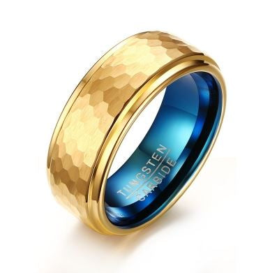 Tungsten Patterned Gold & Blue  8mm Men's Ring