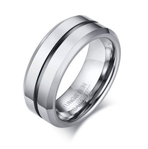 Tungsten Black & Silver 8mm Men's Ring
