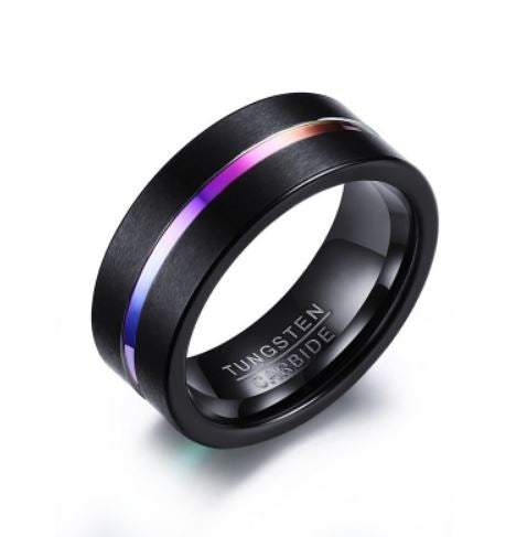 Tungsten Black With Rainbow Inlay Brushed Men's Ring