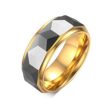 Tungsten Patterned Silver & Gold 8mm Men's Ring