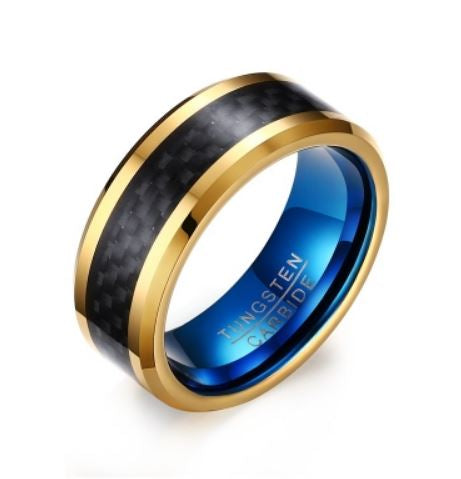 Tungsten Blue With Gold & Black Inlay Men's Ring