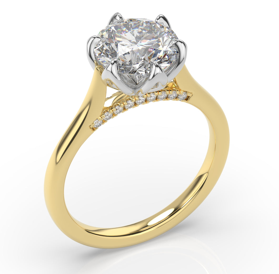 2.00ct Six Claw Two Tone Round Brilliant Engagement Ring