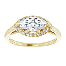 Marquise East West Halo Style Engagement Ring