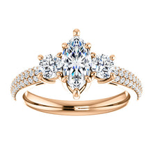 Marquise Tri -Stone Accent Engagement Ring - I Heart Moissanites