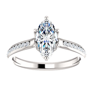 Marquise Six Claw Channel Set Style Engagement Ring - I Heart Moissanites