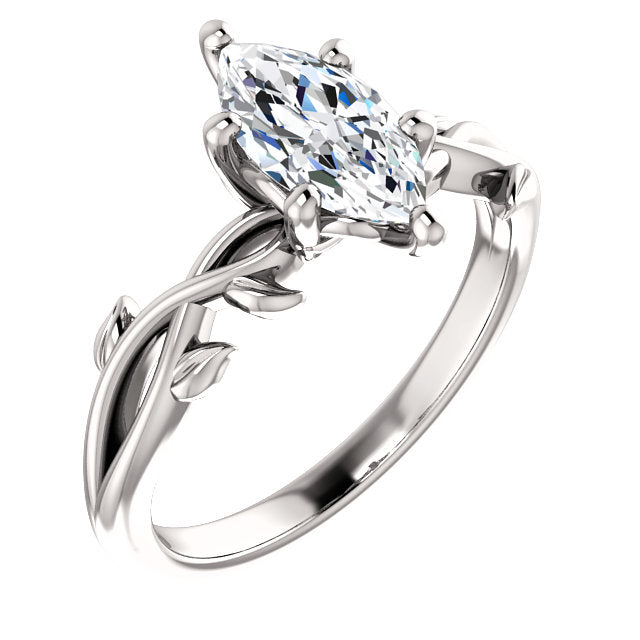 Marquise Solitaire Leaf Design Engagement Ring - I Heart Moissanites