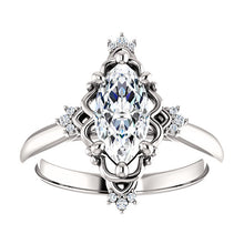 Marquise Diamond Antique Inspired Design Engagement Ring