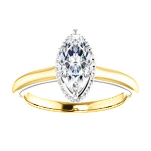 Marquise Solitaire & Hidden Halo Engagement Ring - I Heart Moissanites