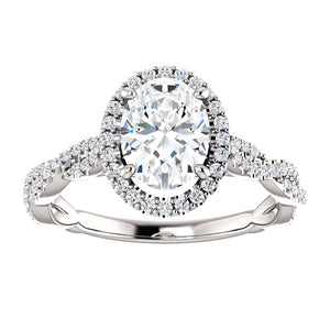 2ct Oval Crushed Ice Twist Diamond Halo Engagement Ring