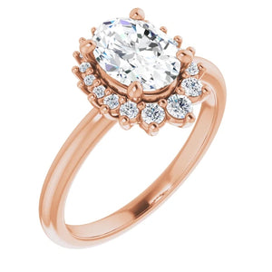 Oval Antique Inspired Design Engagement Ring
