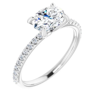 Oval East West Style Engagement Ring