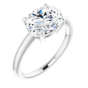 Oval East West Solitaire Style Engagement Ring