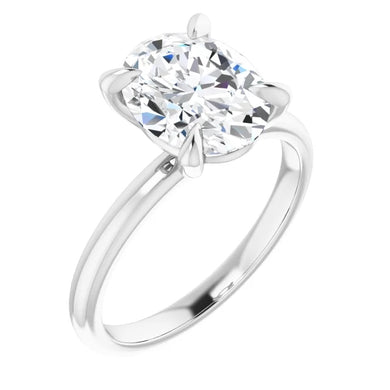 Oval Thin Band Solitaire Engagement Ring