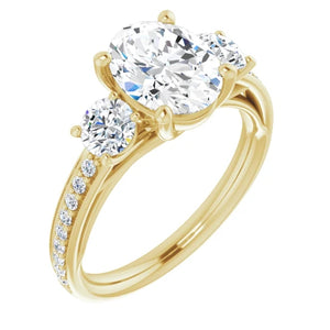 Oval Tri -Stone Accent Engagement Ring