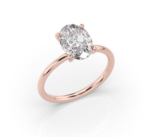 3.00ct Oval Crushed Ice Thin Band Engagement Ring