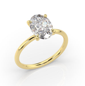 3.50ct Oval Crushed Ice Thin Band Diamond Engagement Ring