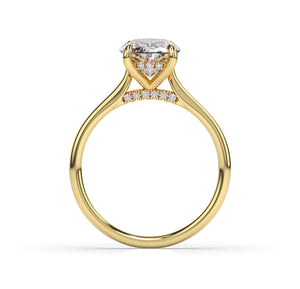 Oval Hidden Halo Thin Band Engagement Ring