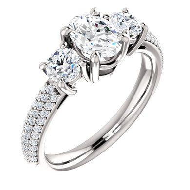 Oval Tri -Stone Accent Engagement Ring - I Heart Moissanites