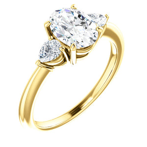 Oval Tri -Stone Style Pear Accent Engagement Ring - I Heart Moissanites