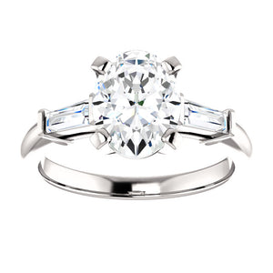 Oval Accent Engagement Ring - I Heart Moissanites