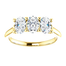 Oval Tri -Stone Style Engagement Ring - I Heart Moissanites