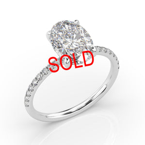 1.50ct Oval Crushed Ice Thin Band Diamond Engagement Ring