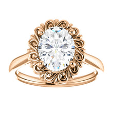 Oval Solitaire Antique Inspired Design Engagement Ring
