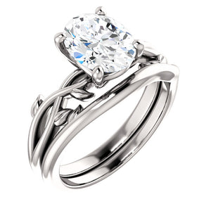 Oval Solitaire Leaf Design Engagement Ring - I Heart Moissanites