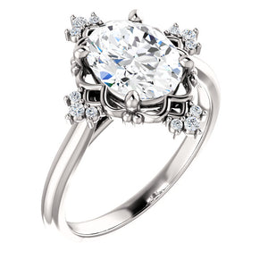Oval Diamond Antique Inspired Design Engagement Ring
