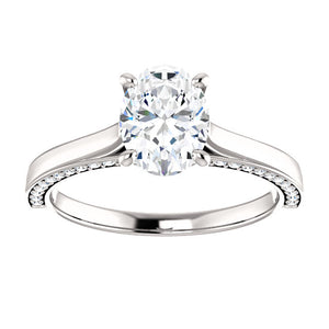 Oval Solitaire & Hidden Diamond Band Engagement Ring - I Heart Moissanites