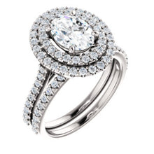 Oval Double Halo Style Engagement Ring - I Heart Moissanites