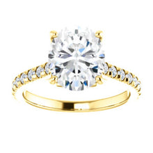 Oval Claw Set Eternity Style Engagement Ring - I Heart Moissanites